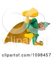 Clipart 3d Super Hero Man In A Green And Yellow Costume Looking Down Royalty Free CGI Illustration