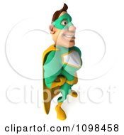 Clipart 3d Super Hero Man In A Green And Yellow Costume Facing Right Royalty Free CGI Illustration