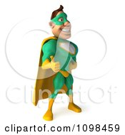 Clipart 3d Super Hero Man In A Green And Yellow Costume Facing Right And Holding A Thumb Up Royalty Free CGI Illustration