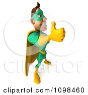 Clipart 3d Super Hero Man In A Green And Yellow Costume Positioned To The Right With A Thumb Up Royalty Free CGI Illustration