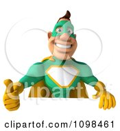 Clipart 3d Super Hero Man In A Green And Yellow Costume With A Sign 7 Royalty Free CGI Illustration