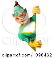 Clipart 3d Super Hero Man In A Green And Yellow Costume With A Sign 8 Royalty Free CGI Illustration