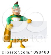 Clipart 3d Super Hero Man In A Green And Yellow Costume With A Sign 9 Royalty Free CGI Illustration