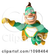 Clipart 3d Super Hero Man In A Green And Yellow Costume In Flight 3 Royalty Free CGI Illustration