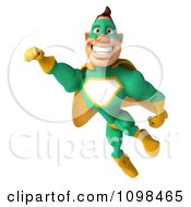 Clipart 3d Super Hero Man In A Green And Yellow Costume In Flight 1 Royalty Free CGI Illustration