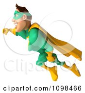 Clipart 3d Super Hero Man In A Green And Yellow Costume In Flight 2 Royalty Free CGI Illustration