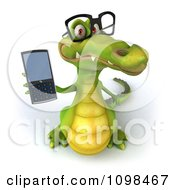 Clipart 3d Crocodile Wearing Glasses And Holding Up A Cell Phone Royalty Free CGI Illustration by Julos