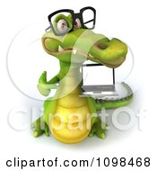 Clipart 3d Crocodile Wearing Glasses And Holding A Laptop 3 Royalty Free CGI Illustration
