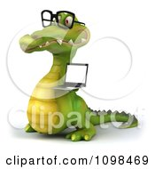 Clipart 3d Crocodile Wearing Glasses And Holding A Laptop 2 Royalty Free CGI Illustration