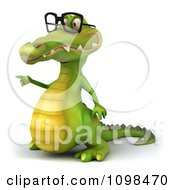 Clipart 3d Crocodile Wearing Glasses And Pointing To The Left Royalty Free CGI Illustration