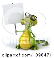 Clipart 3d Crocodile Wearing Glasses And Holding A Sign 1 Royalty Free CGI Illustration