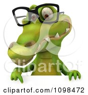 Clipart 3d Crocodile Wearing Glasses And Holding A Sign 2 Royalty Free CGI Illustration