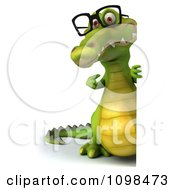 Clipart 3d Crocodile Wearing Glasses And Holding A Sign 3 Royalty Free CGI Illustration