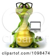 Clipart 3d Crocodile Wearing Glasses And Holding A Laptop 1 Royalty Free CGI Illustration