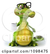 Clipart 3d Crocodile Wearing Glasses And Holding A Coffee Mug 2 Royalty Free CGI Illustration