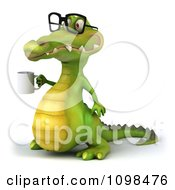 Clipart 3d Crocodile Wearing Glasses And Holding A Coffee Mug 1 Royalty Free CGI Illustration