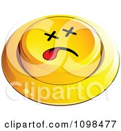 3d Dead Yellow Button Smiley Emoticon Face