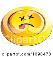 3d Pushed Dead Yellow Button Smiley Emoticon Face