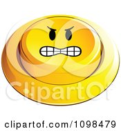 3d Angry Yellow Button Smiley Emoticon Face