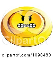 3d Angry Pushed Yellow Button Smiley Emoticon Face
