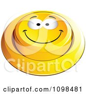 3d Yellow Happy Button Smiley Emoticon Face 1