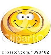 3d Pushed Yellow Happy Button Smiley Emoticon Face 1