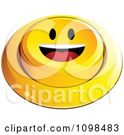 3d Yellow Happy Button Smiley Emoticon Face 2