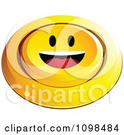 3d Pushed Yellow Happy Button Smiley Emoticon Face 2