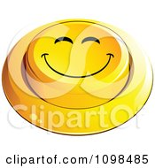 3d Yellow Happy Button Smiley Emoticon Face 3