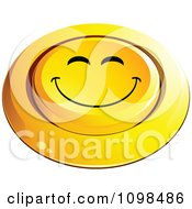 3d Pushed Yellow Happy Button Smiley Emoticon Face 3