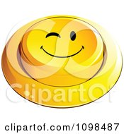 3d Yellow Flirty Winking Button Smiley Emoticon Face