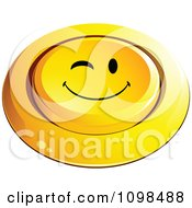 3d Pushed Yellow Flirty Winking Button Smiley Emoticon Face