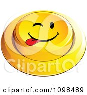 3d Yellow Playful Teasing Button Smiley Emoticon Face