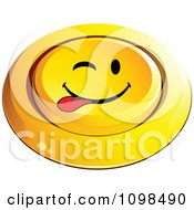 3d Pushed Yellow Playful Teasing Button Smiley Emoticon Face