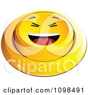 3d Yellow Laughing Button Smiley Emoticon Face