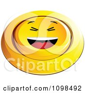 3d Pushed Yellow Laughing Button Smiley Emoticon Face