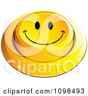 3d Yellow Happy Button Smiley Emoticon Face 4