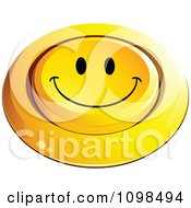 3d Pushed Yellow Happy Button Smiley Emoticon Face 4