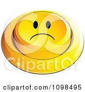 3d Yellow Sad Button Smiley Emoticon Face