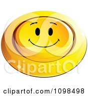 3d Pushed Yellow Happy Button Smiley Emoticon Face 5