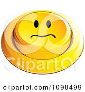 3d Yellow Upset Button Smiley Emoticon Face