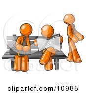 Orange Men At A Bench At A Bus Stop Clipart Illustration