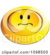 3d Pushed Yellow Upset Button Smiley Emoticon Face
