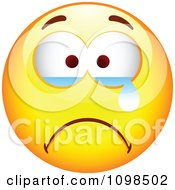 Clipart Crying Yellow Cartoon Smiley Emoticon Face 3 Royalty Free Vector Illustration