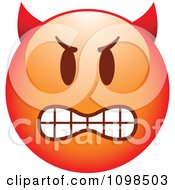 Clipart Red Bully Devil Cartoon Smiley Emoticon Face Royalty Free Vector Illustration