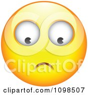 Clipart Yellow Worried Cartoon Smiley Emoticon Face 2 Royalty Free Vector Illustration