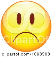 Clipart Yellow Cartoon Smiley Emoticon Face Frowning 3 Royalty Free Vector Illustration
