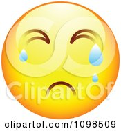 Clipart Crying Yellow Cartoon Smiley Emoticon Face 4 Royalty Free Vector Illustration