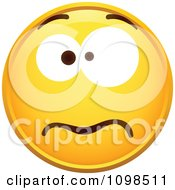 Clipart Yellow Worried Cartoon Smiley Emoticon Face 4 Royalty Free Vector Illustration
