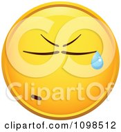 Clipart Crying Yellow Cartoon Smiley Emoticon Face 5 Royalty Free Vector Illustration